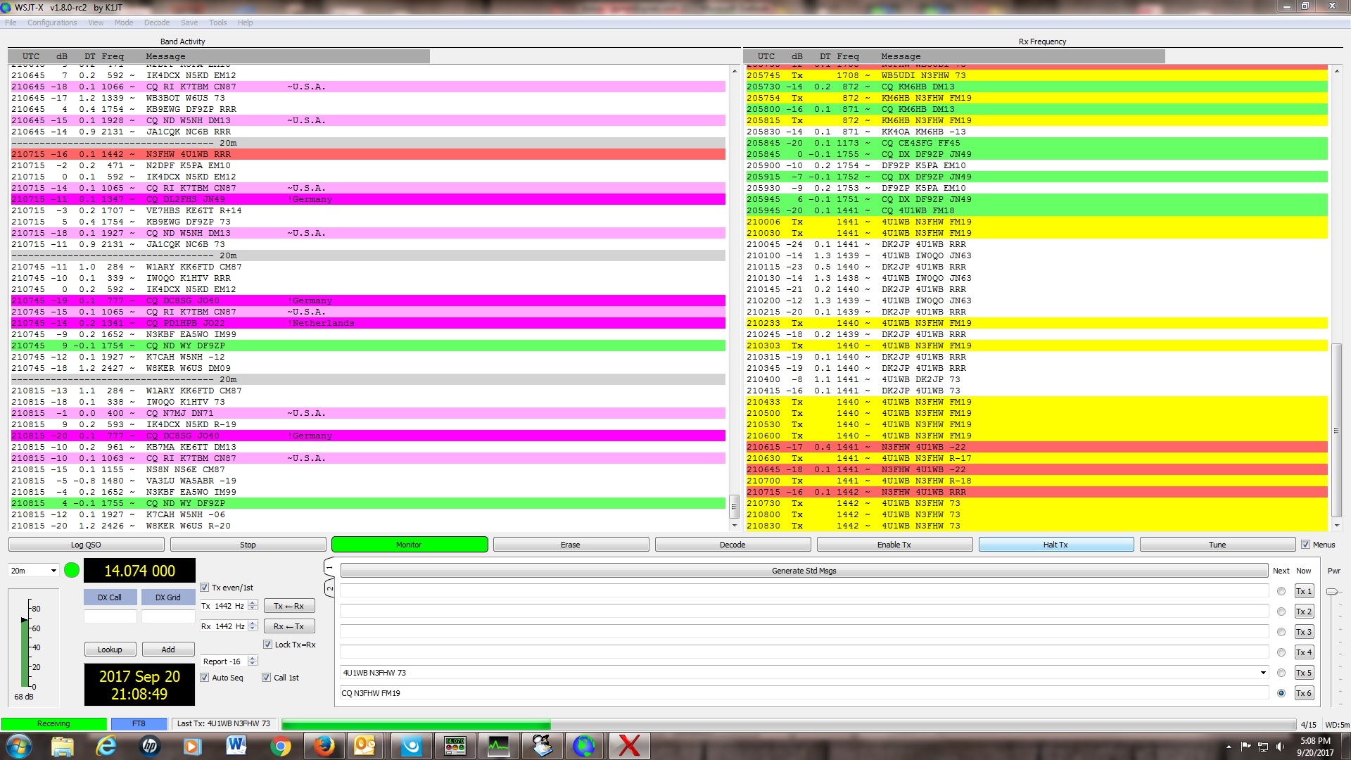 N3FHW » Worked 4U1WB The World Bank 20m FT8 mode